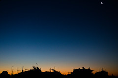 Sunrise Silhoutte (PerisV) Tags: morning blue houses sky moon colors beautiful silhouette sunrise photography gold star golden early photo nikon colorful colours vibrant wars colourful richcolors d5100 perisv