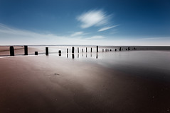 beachwear (JGP76) Tags: ocean uk longexposure sea beach clouds landscape coast seaside sticks sand day somerset british summertime burnhamonsea 16stopnd