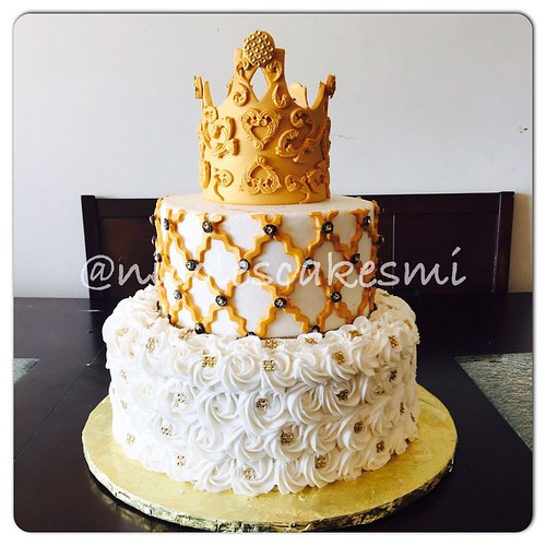 Gold, Black, White Royal Baby Shower Cake. Iced In Buttercream With  Rosettes On The Bottom With Gold Bling And Gold Chevron Strips Black  Circles And Bling ...
