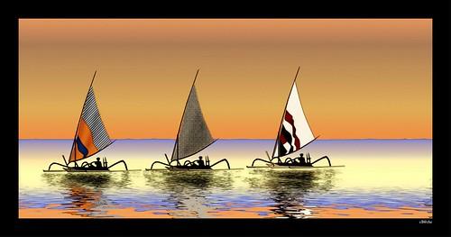Prahus balinais (retour de pêche)