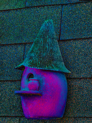 Where Ever I leave My Hat's My Home (Steve Taylor (Photography)) Tags: art digital roof blue mauve purple spooky eerie strange weird texture fluorescent neon