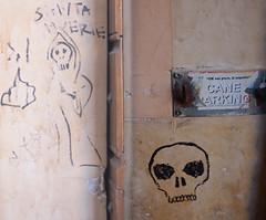 Death themed Rome back alley art (stephenweir) Tags: deaththemed graffiti art streetart ancientrome backalleyart skull grimreaper blackonbrick streetphotography compositephotograph