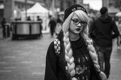 So Goth It Hurts (Leanne Boulton) Tags: people monochrome depthoffield urban street candid portrait portraiture streetphotography candidstreetphotography candidportrait streetportrait streetlife young woman female girl face facial expression look emotion feeling mood atmosphere pigtails plaits hair goth gothic style tone texture detail bokeh natural outdoor light shade shadow city scene human life living humanity society culture fashion canon 5d 5dmkiii 70mm character ef2470mmf28liiusm black white blackwhite bw mono blackandwhite glasgow scotland uk