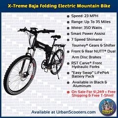 X-Treme Baja Folding Electric Mountain Bike (urbanscooters) Tags: xtreme baja foldingbike electricbike mountainbike bike foldingbikes electricbikes mountainbikes bikes shimano rst