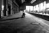 waiting (Chilanga Cement) Tags: fuji fujix100t fujixt1 x100t xseries x100s x100 monochrome bw blackandwhite man train preston prestonstation platform shadow shadows