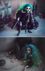 Two sides of one personality (Klio.13) Tags: monsterhigh monster high mattel ooak custom customdolls dolls dollphotography toyphotography toys repaint reroot rochellegoyle cyan depression villain