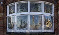 the bay window of wonders - HWW! (lunaryuna (off to the Lofoten)) Tags: coventry england house building architecture baywindow windowswednesday reflections refractions graffiti urban walkinthecity city urbanconstructs lunaryuna