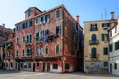 Laundry day at a palazzo (Tigra K) Tags: venice veneto italy it venezia 2014 architdetail architecture balcony city color fabric plant ruin wall window