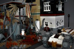 Steampunk neighbourhood (adde51) Tags: adde51 lego moc steampunk moduverse modular house building lab science airship balloon swebrick masterbuilder contest paranormal institute studies ruinsofsanvictoria ruins mecha mech