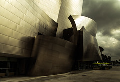 Gold Waves Breaking (Jack Landau) Tags: california city building monochrome architecture modern frank la hall los concert downtown angeles gehry disney walt