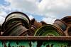 Bin O' Wheels (JeffStewartPhotos) Tags: auto ontario canada junk rust automobile wheels rusty rusting yunkyard rockwood wreckers mcleans mcleansautowreckers walkingwithdavidw
