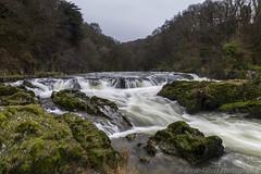 Cenarth Falls (SarahO44) Tags: uk water rain wales canon waterfall moving rocks slow unitedkingdom united kingdom falls cascade 6d cenarth