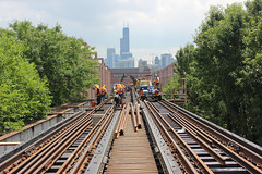 Ravenswood Connector Track Replacement Weekend #9 (cta web) Tags: railroad chicago cta railway transit lincolnpark brownline purpleline rivernorth nearnorth rapidtransit riverwest purplelineexpress nearnorthside ctabrownline ctapurpleline ravenswoodloop ravenswoodconnector