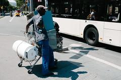 Shopping (marco_palmieri) Tags: barcelona life street travel man zeiss hope spain streetlight waiting sony streetphotography worker catalunya es cart wreckage searching carlzeiss variosonnart282470