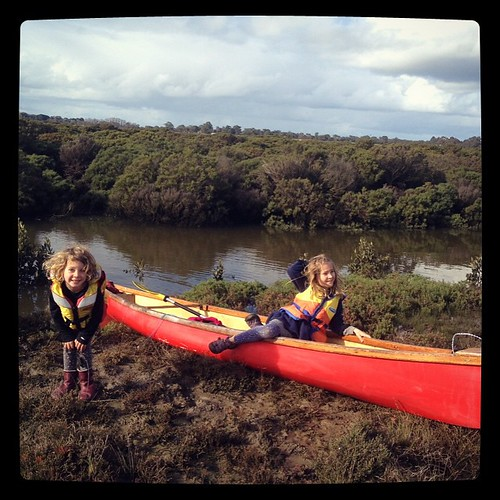 186/365 • the explorers pose for the camera • #186_2015 #canoe #creek #explorers #sisters #7yo #4yo #Winter2015 #water