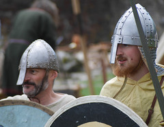 Vikings (marcusbentus) Tags: uk england english heritage island lumix panasonic holy northumbria micro sword shield viking reenactment lindisfarne priory norse 43rds gx7