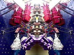 Resistance is futile (Corgibird) Tags: christmas christmashumor ornaments glassornaments glass holidays festivus shopping walmart round colorful blackandwhite purple santa rudolph reindeer sleigh angels transformer startrek surreal whimsy lines light dark clutter balls