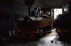 Henschel DFB 0-8-0T (SteveInLeighton's Photos) Tags: transparency kodachrome france may narrowgauge railroad railway 1997 locomotive steam engineshed pithiviers henschel amtp