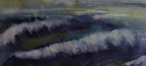 L'infinité des vagues ( petite aquarelle de 12-25 cm)