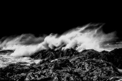 Breaking waves IR (Usstan) Tags: wind nikon winter sigma møreogromsdal mountains day cold norway seasons blue sunnmøre monochrome bw cliff infrared ir d750 2470mm storm westcoast seaspray blackandwhite noon outdoor rough sea flø clouds costal motion locations ocean lens landscape norge water waves sky seascape ulstein rain colors rocks