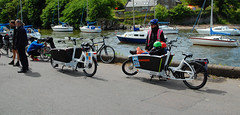 The flying bathtubs (beqi) Tags: panorama bike bicycle edinburgh photoshoppery cramond cargobike 2015 urbanarrow edinburghfestivalofcycling