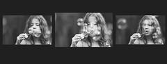 Blowing bubbles (Wojtek Piatek) Tags: portrait blackandwhite bw girl collage zeiss fun mono blackwhite triptych child play sony joy bubbles portret dziewczynka dziecko outdor baki mydlane zeiss135 sonya99