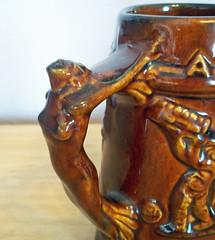 Vintage 1933 Royal Haeger Chicago World's Fair Brown Ceramic Stein w/ Nude Handle - Art Deco (karalennox) Tags: brown chicago vintage ceramic relief pottery artdeco beerstein etsy worldsfair 1933 beermug royalhaeger centuryofprogress nudehandle