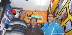 P1110063 A Pic taken at Trek Agency (after the trek) - Asian Hiking Team - with Suman Neupane (agency owner on Right) and Dil Basnet (my guide-porter at Center) (ks_bluechip) Tags: nepal trel dec2016 annapurna mohare khopra muldhai abc mbc pokhara kathmandu