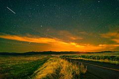 Rural Roadside (stuanderson7) Tags: grass night landscape nature stars mountains outdoor rural clouds california road long exposure sonya6000 sky shooting star nightscape light pollution orion constellations lightpollution longexposure shootingstar