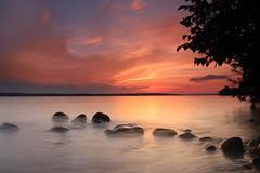 Columbine Road end in LE (wiltsepix) Tags: higgins lake michigan sunset le water rocks columbine road end