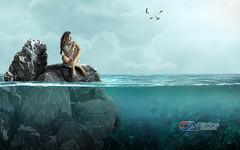 Carlos Atelier2 - Pensamento (Carlos Atelier2) Tags: carlos atelier2 pedra água mar pensamento solidão mulher manipulação photoshop