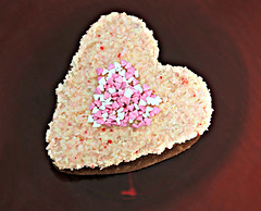 2017: Sour Cream Coconut Cake with Coconut Ice Icing (dominotic) Tags: 2017 food sourcreamcoconutcakewithcoconuticeicing heart valentinesday cake sweets lolly candyhearts