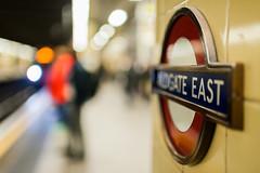 Bokeh Test 1-2-3 (Peter Murrell) Tags: bokeh trainstation aldgateeast signage sign londonunderground tube londontransport blur