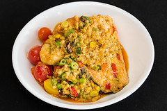 Salmon with curry prawns with couscous and quinoa (garydlum) Tags: redchillies prawns chilliflakes coconutcream springonion jalapeñopeppers belconnen quinoa salmon couscous tomatoes corn chillies peas curry beans canberra pearlbarley rice