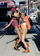 094A9372 v2 (Wheels Down) Tags: nyc hellskitchen hotties guys males shorts shortshorts boots tattoos cowboyhat hat bandana abs ripped streetphotography smiles fun pose cowboyboots legs arms shades sunglasses haltertop