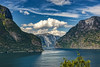 """Aurland fjord (wimvandemeerendonk, back home) Tags: aurlandsvangen fjord norway blue contrast color colors colours colour clouds cloud hill hills landscape land mountain mountainscape nature outdoors outdoor panorama reflection rock rocks range sony sky sun scenic tree trees valley view wimvandem water mountainside green ripples summer """"sonyflickraward 100149faves rockpaper simplysuperb"""