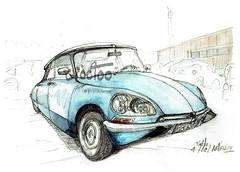 A Melle, la DS (Croctoo) Tags: croctoo croquis croctoofr aquarelle watercolor ds citroen auto garage poitou poitoucharentes melle