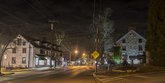 365-46 (• estatik •) Tags: 36546 365 46 february152017 feb weds wednesday 21517 night long exposure newhope pa pennsylvania panorama longexposure buckscounty south bridge st street intersection ferry farleys historical society cannon canon triangle marker spur signs lights dark darkness light parry perry mansion nhhs nhs