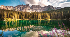 C a r e z z a  -  L a k e (Brightway Photography) Tags: italien italy mountain lake mountains mirror see berge bergsee spiegelung dolomites dolomiti südtirol altoadige carezza dolomiten karersee welschnofen trentinosüdtirol