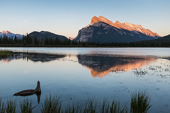 Mt Rundle at Sunset (SoumyaB@nerjee) Tags: sunset lake canada reflection reflections alberta banff vermillion