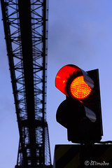 red light in hanging bridge of vizcaya (Mimadeo) Tags: light trafficlight redlight bizkaia portugalete euskadi vizcaya basquecountry paisvasco semaphore puentecolgante getxo hangingbridge