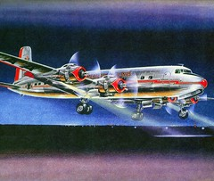 American Airlines Douglas DC-7B Flagship California # 305 is seen while landing during the early evening, art work scan (alcomike43) Tags: old city color classic night vintage airplane flying airport aircraft aeroplane scan historic landing douglas airlines americanairlines aal 305 dc7 commercialairlines dc7b flagshipcalifornia dc7csevenseas