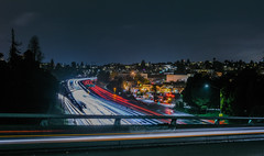 grand lake bridge (pbo31) Tags: bayarea california nikon d810 color night dark boury pbo31 january 2017 winter lightstream motion traffic eastbay alamedacounty oakland 580 over highway rain wet roadway bridge black grandlake overpass