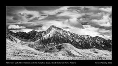 Afternoon with Mount Ishbel and the Hillsdale Slide, Banff National Park, Alberta (kgogrady) Tags: fall infrared landscape banff alberta canada blackandwhite banffnationalpark canadianlandscapes blackwhite canadianrockies bowvalley cans2s afternoon 2016 bw albertalandscapes canadianmountains canadiannationalparks ab canadianrockieslanscape clouds westerncanada snow trees xpro1 xf18135mmf3556oiswr parkscanada panorama mountishbel ishbel mountain fujifilm nopeople fujifilmxpro1 hillsdaleslide noone pano fujinon autumn mtishbel