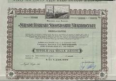 STRADE FERRATE SECONDARIE MERIDIONALI S.P.A. (scripofilia) Tags: 1947 azioni ferrate meridionali secondarie strade stradeferratesecondarie