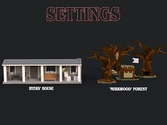 Lego Stranger Things - Settings (bradders1999) Tags: lego digital designer ldd bricks brick built stanger things strange thing season 2 pictures picture render monster monsters creature creatures vehicle van bike bicycle forest trees wood tree house building creative horror movie tv show netflix original series font new news 2017 byers brenner 11 eleven scary creepy 80s 1980s classic cult et star wars spielberg alien aliens