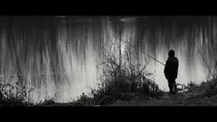 Fisherman by the Timiş river (Kimmo Räisänen) Tags: canoneosm tamron18200mm lugoj romania river fishing fisherman bw blackandwhite monochrome outdoors cinemascope widescreen dramaticsky clouds
