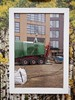 The Power of the Frame 1 (Feldore) Tags: building site construction hoarding london east canning town equipment lorry framed feldore mchugh em1 olympus 1240mm green red art installation framing
