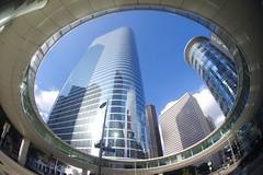 Enron FTW! (AlphaTangoBravo / Adam Baker) Tags: enron chevron walkway houstontexas blue sky pentaxk1 zenitar1628fisheye 1400smithst