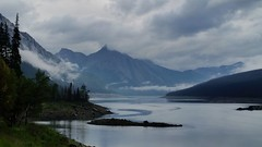 Mysterious Medicine Lake (Patricia Henschen) Tags: jasper nationalpark parks parc alberta canada northern rockies canadian jaspernationalpark medicine lake medicinelake clouds mountains boreal forest cloudy fog foggy